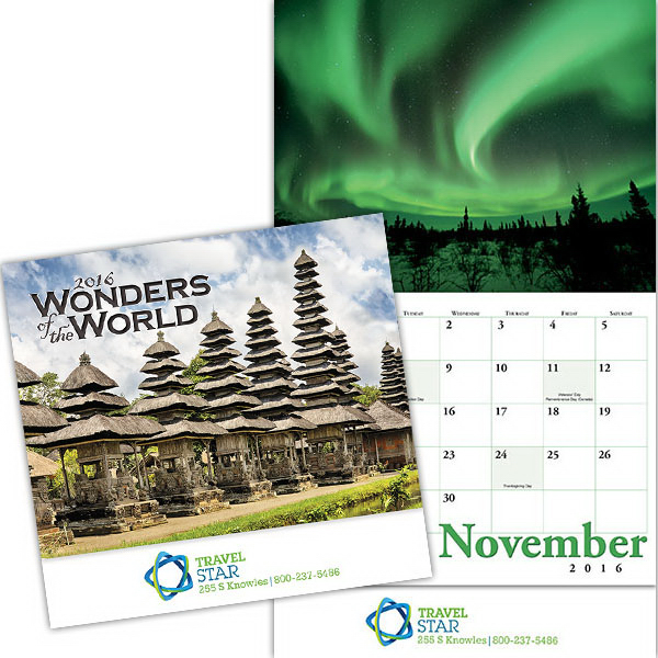Imprinted Kingswood Collection Wonders of the World Wall Calendar