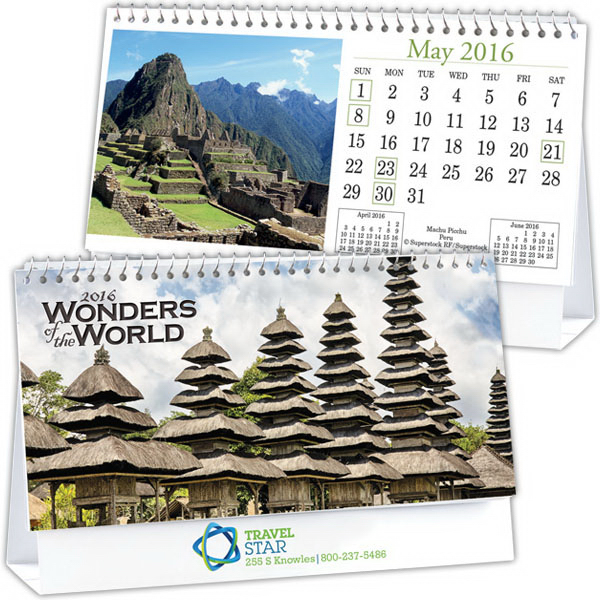 Printed Kingswood Collection Wonders of the World Desk Calendar