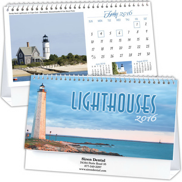 Printed Kingswood Collection Lighthouses Desk Calendar