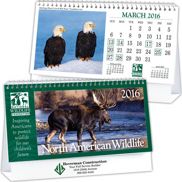 Customized Kingswood Collection Wildlife Desk Calendar