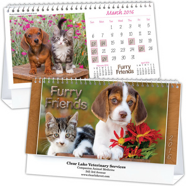 Customized Kingswood Collection Cats and Dogs Desk Calendar
