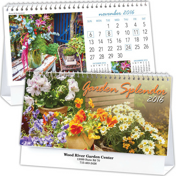 Customized Kingswood Collection Garden Splendor Desk Calendar