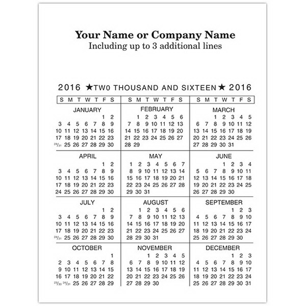 Personalized Economy Collection Vertical One Color Calendar