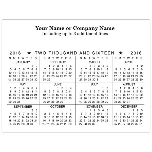 Promotional Economy Collection Horizontal One Color Calendar