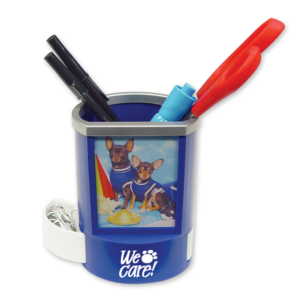 Personalized Blue Pen Holder with Picture Frame