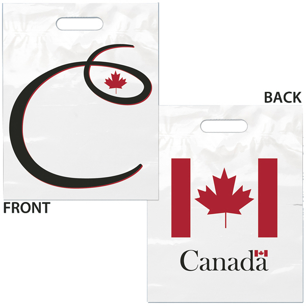 Customized Die Cut Handle Canada Flag Bag