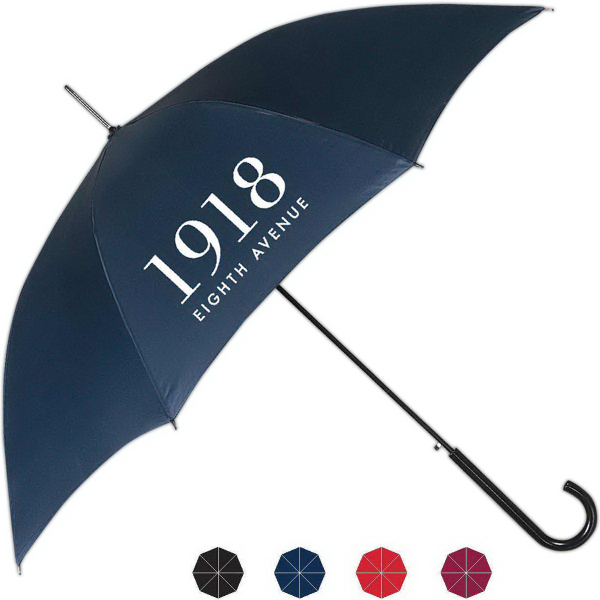 Imprinted Milan Automatic Open Umbrella With Plastic Crook Handle