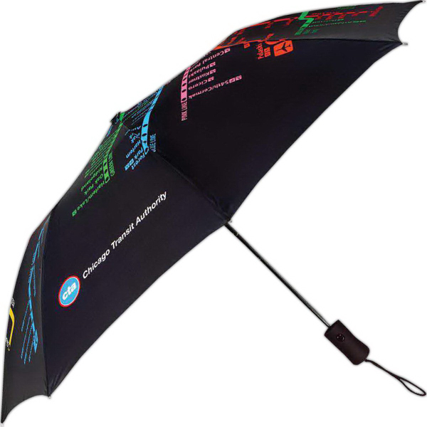 Promotional Subway Auto Open Umbrella With Chicago Subway System Map