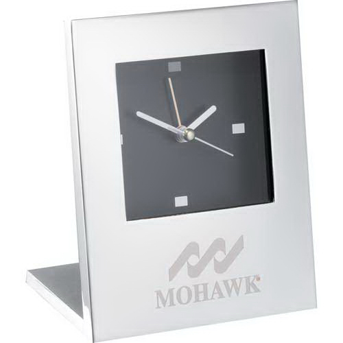Customized Radiance Silver Plated Desktop Clock with Alarm