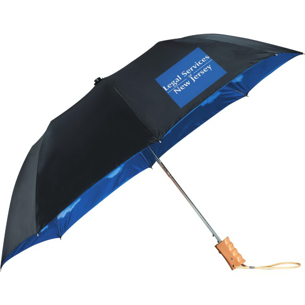 "Promotional 46"" Blue Skies Auto Folding Umbrella"