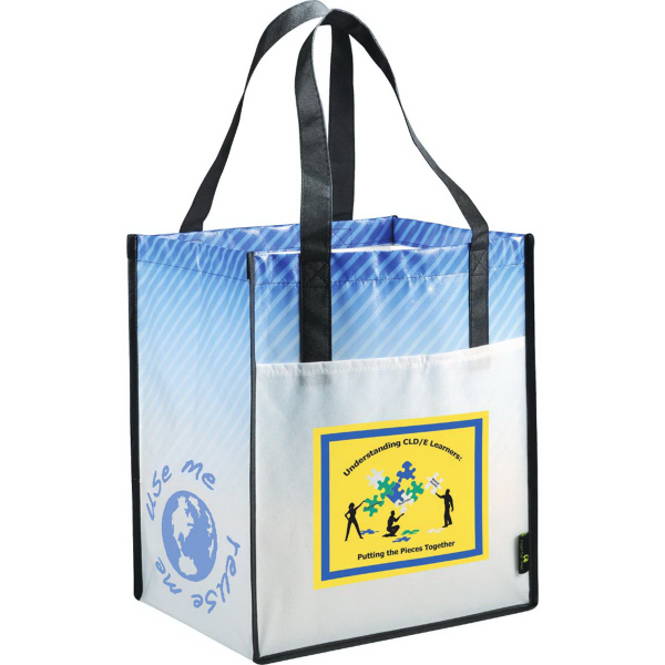 Custom laminated non woven striped big grocery tote for Custom laminations