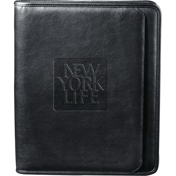 Imprinted Manhattan Zippered Padfolio