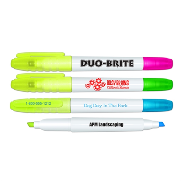 Imprinted Duo Brite Double ended highlighter