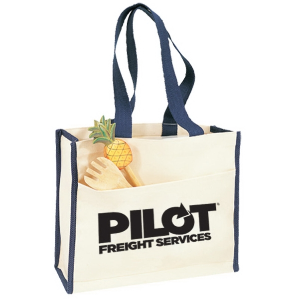 Promotional Canvas Gusset Tote w/ Color Handles