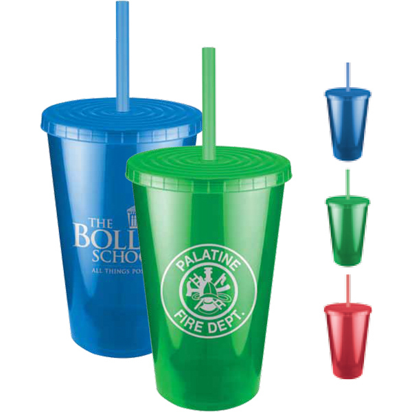 Imprinted Jewel Double Wall Insulated Tumbler with Lid and