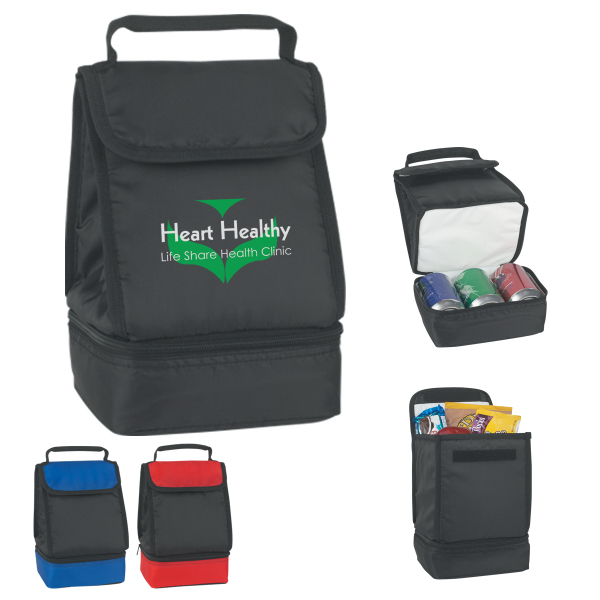 Printed Dual Compartment Lunch Bag
