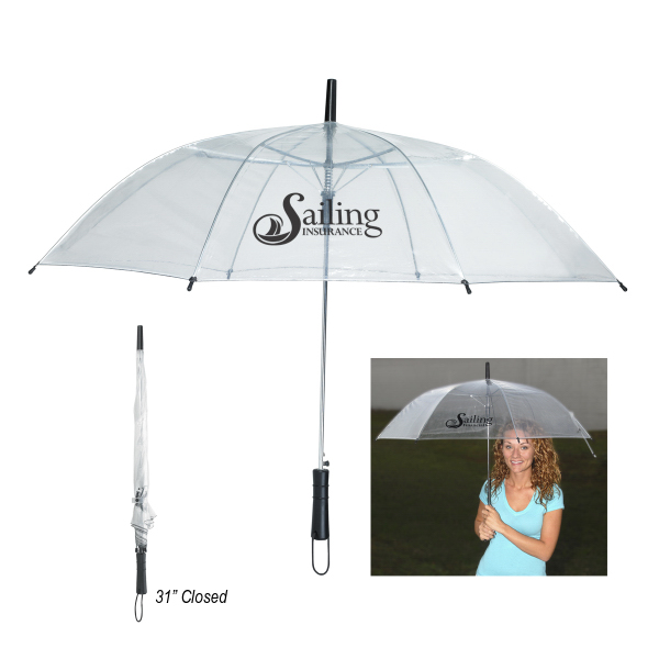 "Imprinted 46"" Arc Clear Umbrella"