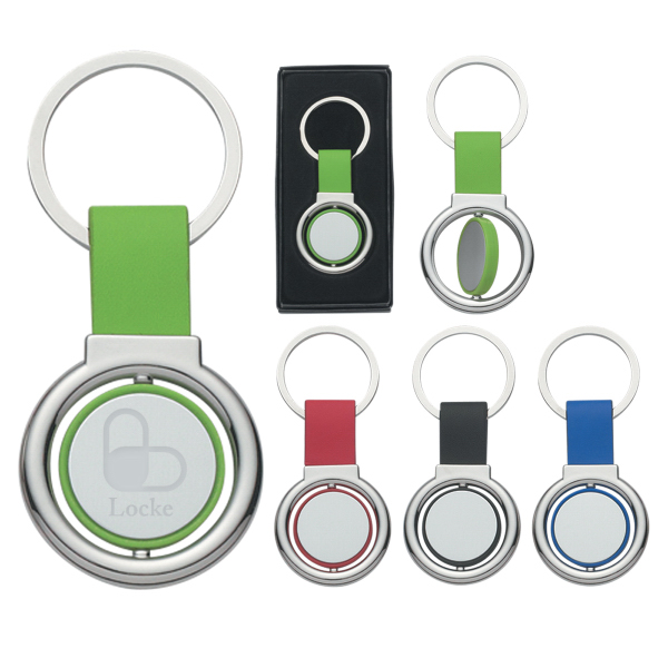 Personalized Circular Metal Spinner Key Tag