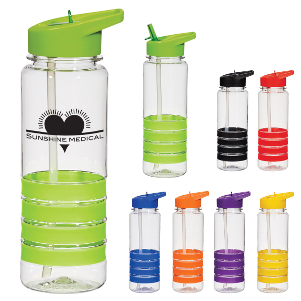 Personalized 24 oz. Banded Gripper Bottle With Straw