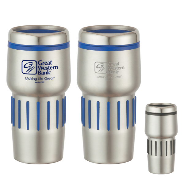 Custom 16 oz. Stainless Steel Tumbler With Rubber Grips