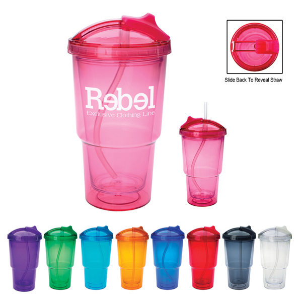 Personalized 16 oz. Double Wall Travel Tumbler With Straw