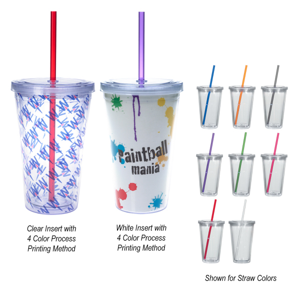 Promotional 16 oz. Double Wall Acrylic Tumbler With Insert
