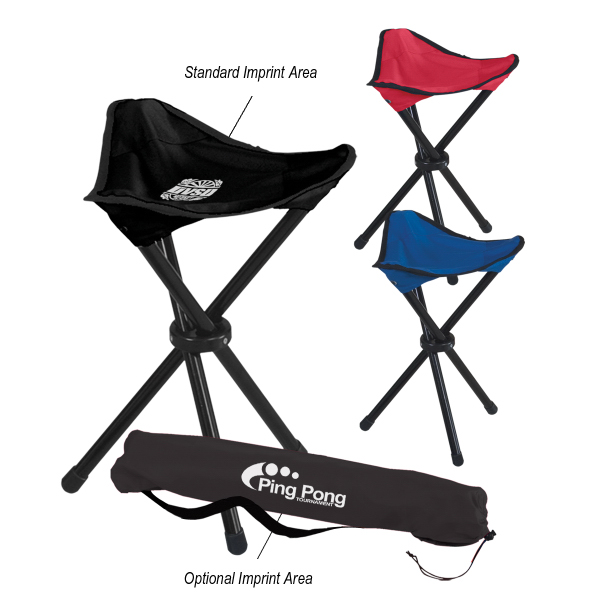 Imprinted Folding Tripod Stool With Carrying Bag