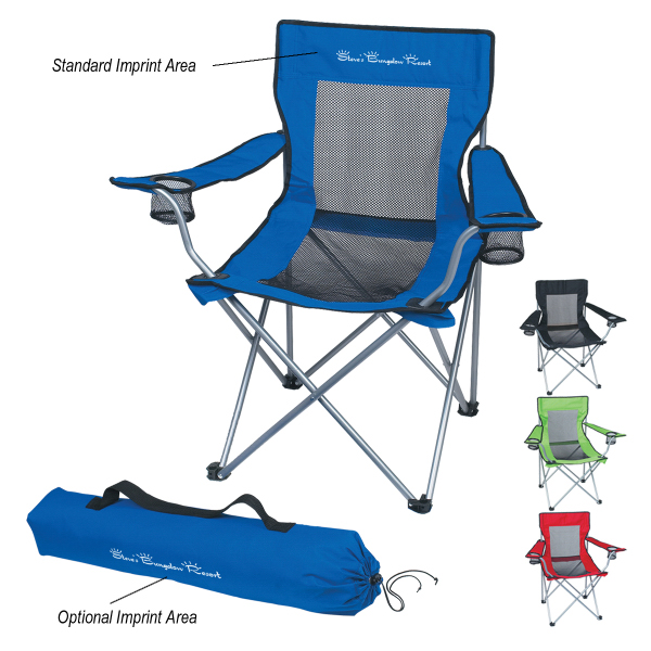 Printed Mesh Folding Chair With Carrying Bag