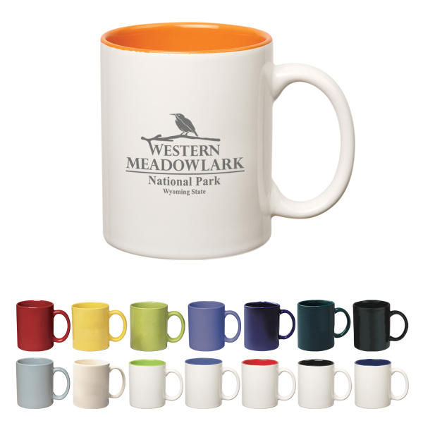 Imprinted 11 oz. Colored Stoneware Mug With C-Handle