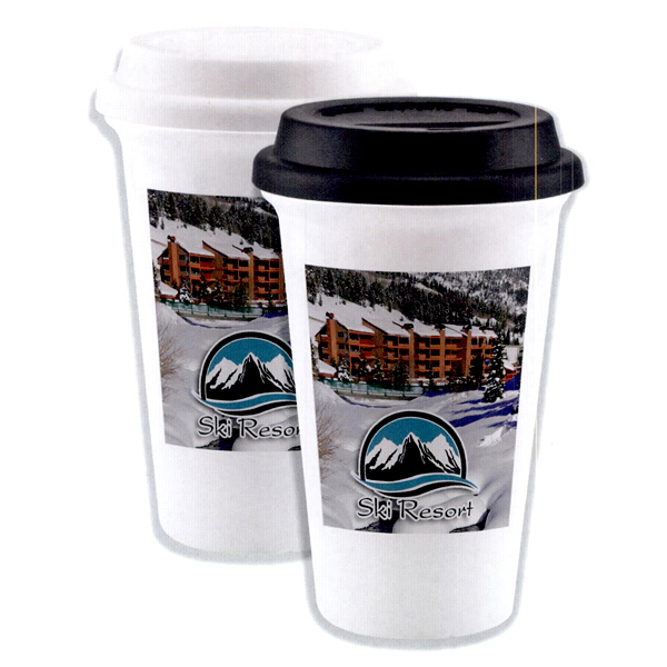 Custom Full color double wall porcelain cup with silicone lid