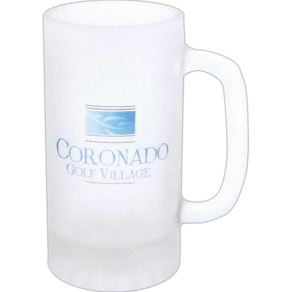 Imprinted Full color frosted glass pub stein - 16oz