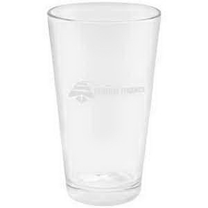 Printed Etched imprint European pilsner glass, 16 oz