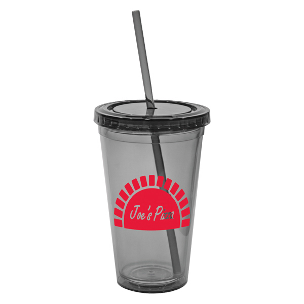 Custom San double wall tumbler with straw - 16 oz