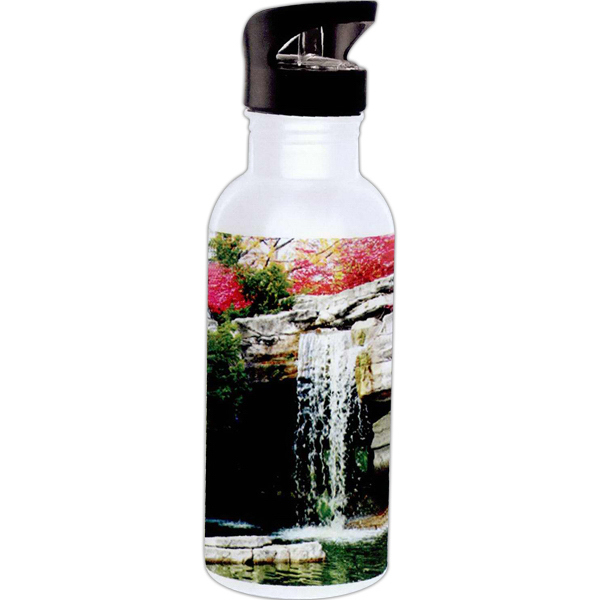 Promotional Full color stainless steel white water bottle with straw