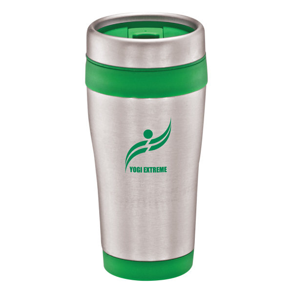 Promotional Stainless steel travel mug with color bands - 16 oz