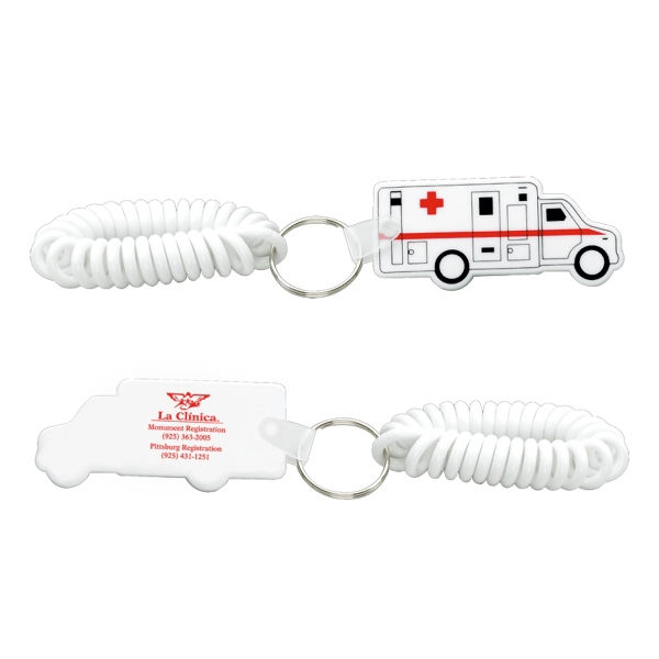 Printed Ambulance Keychain with Coil