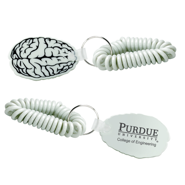 Promotional Brain Vinyl Key Chain with Coil