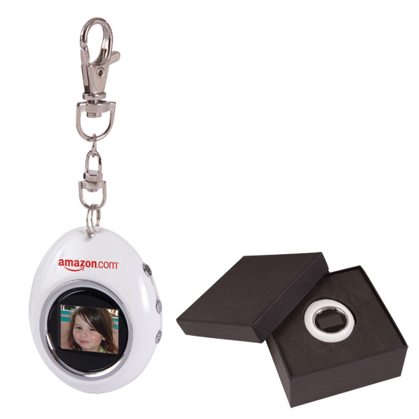 "Imprinted 1.1"" Oval Digital Photo Keychain"