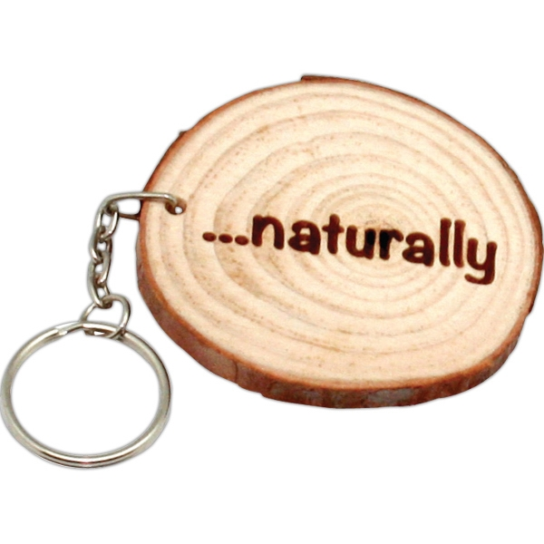 Imprinted Natural Wood With Rings Keyring
