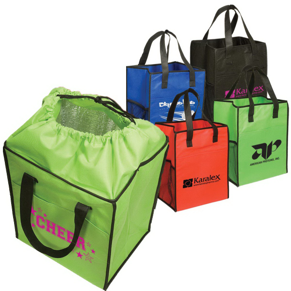Custom Non-Woven Drawstring Grocery Tote