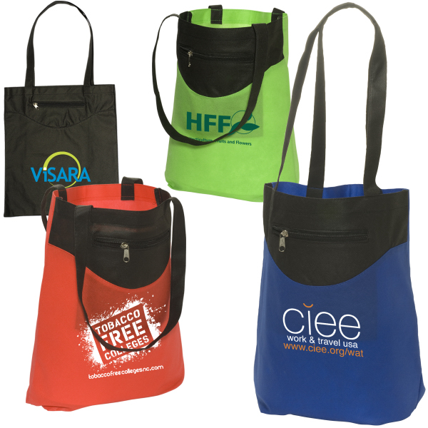 Promotional Zip-Pocket Non-Woven Tote