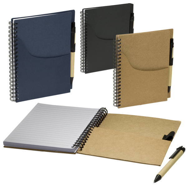 Customized Eco Handy Jotter with Pockets and Pen Combo