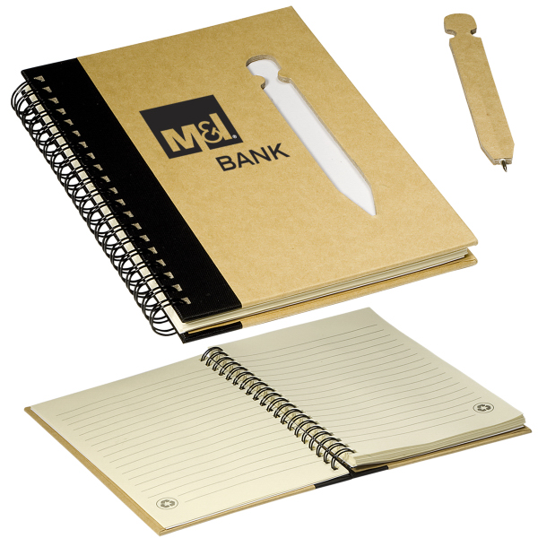 Promotional Eco Notebook With Die Cut Pen Usimprints