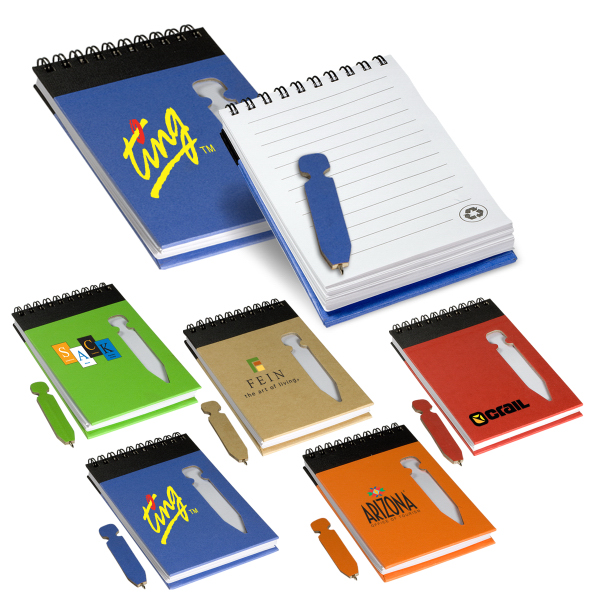 Printed Eco Jotter with Die-Cut Pen