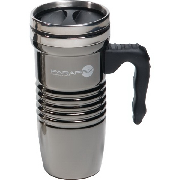 Custom 16 oz Black Chrome Retro Travel Mug