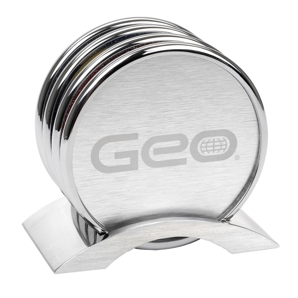 Custom Cologne Silver Color Coaster Set on Aluminum Base, 4 Piece
