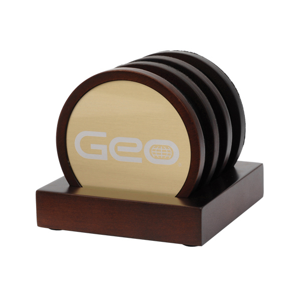 Personalized Oxford 4 Piece Wooden Coaster Set w/Gold Plate Insert