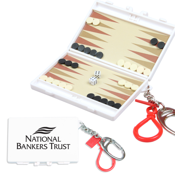 Custom Magnetic Travel Backgammon Key Chain
