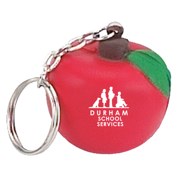 Imprinted Apple Stress Reliever Key Chain