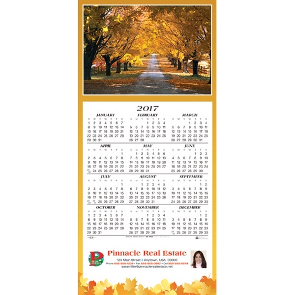 Personalized Country Road calendar greeting card